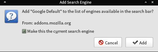 Add Default Search engine dialog