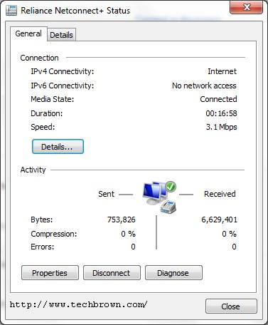 Reliance Netconnect Status