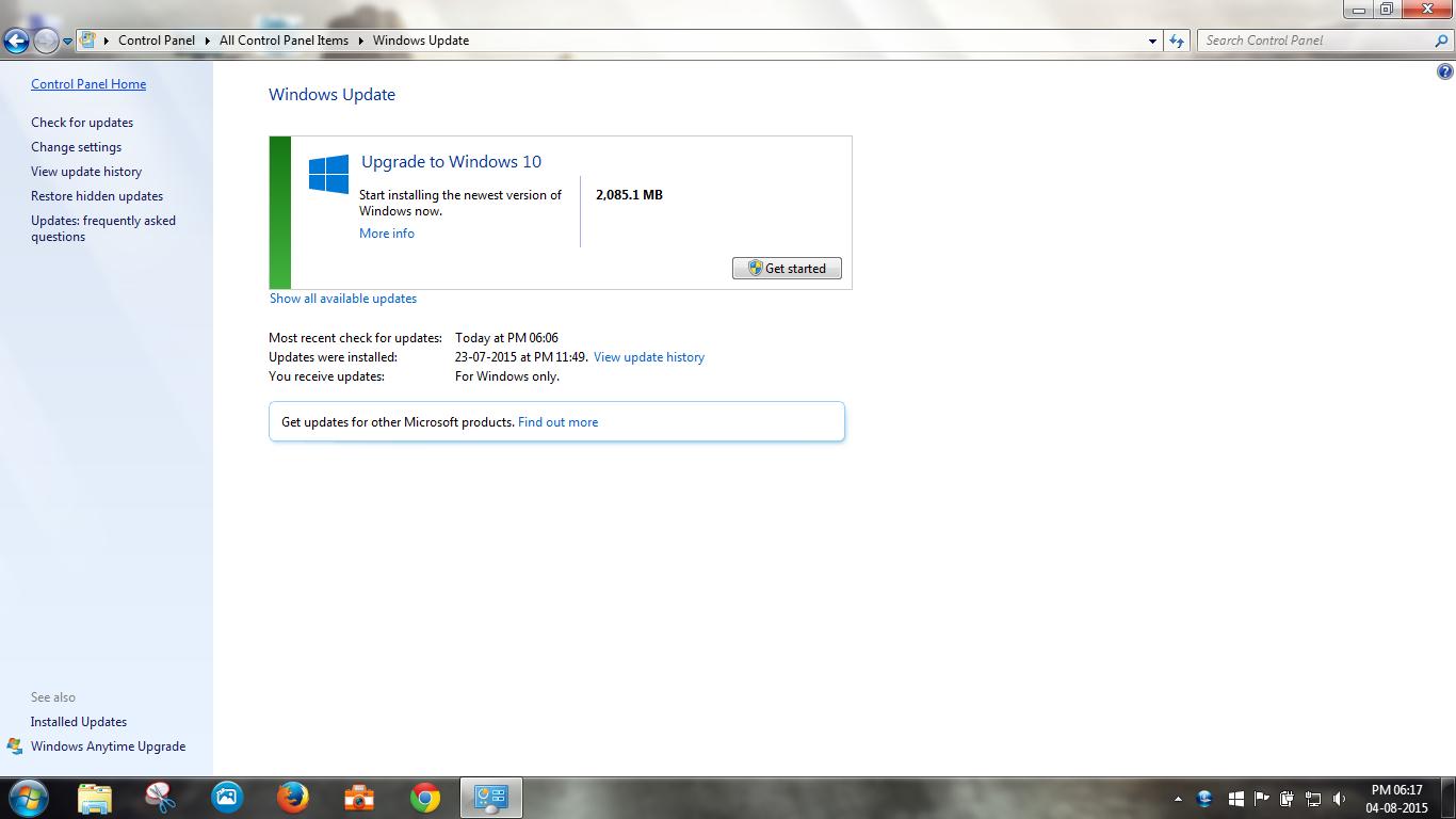 upgrade windows 10 via windows update